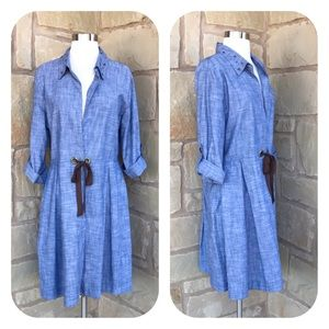 Indigo Soul Chambray Tie Front Studded Dress L